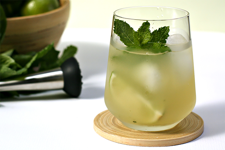Dark rum mojito with basil