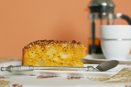 Butternut squash–apple cake with ginger streusel