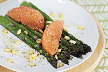 Roasted asparagus with pink grapefruit and lemon infused oil