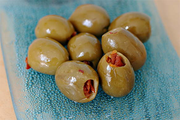 Spanish olives stuffed with sun-dried tomatoes