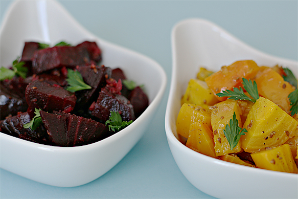 Two-color beet salad with anise vinaigrette