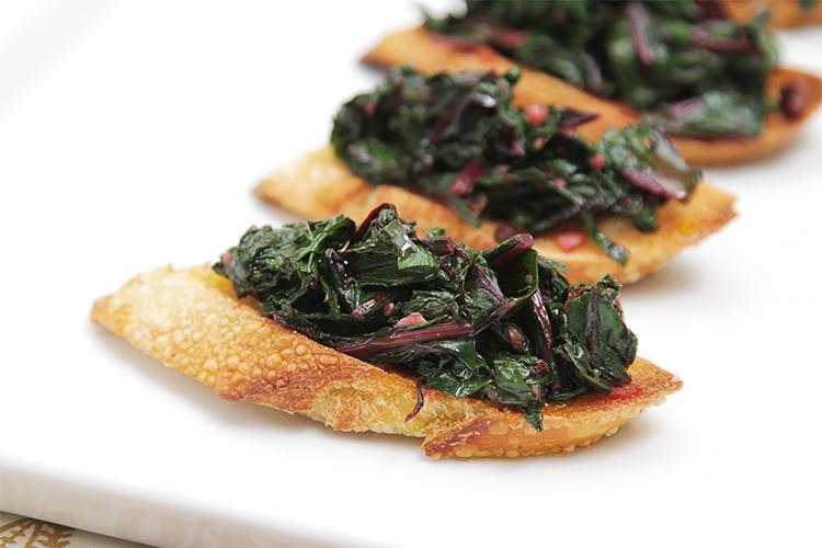 Spicy Beet Green Crostini Recipe Food Style
