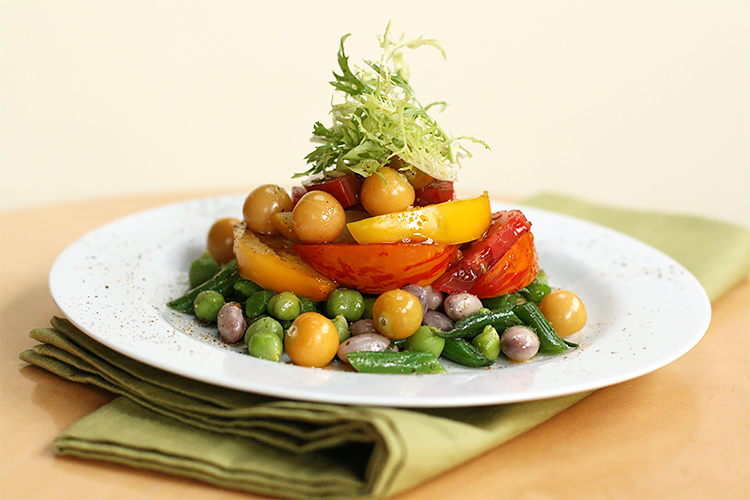 Fresh chickpea and heirloom tomato salad with mint