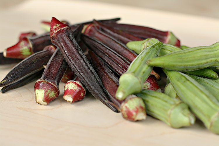 Burgundy and green okra