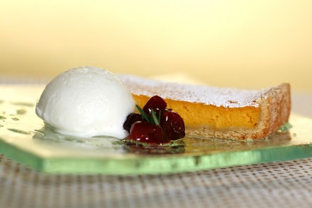 Butternut squash-Cointreau tart with rosemary gelato and cranberry compote