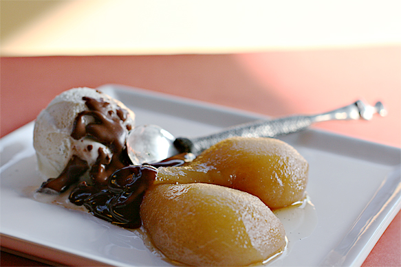 Maple-poached pear sundae