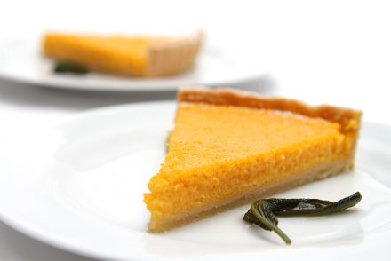 Butternut squash tart with Cointreau and sage syrup