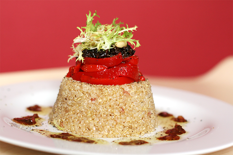 Quinoa with piquillo peppers and cured olives