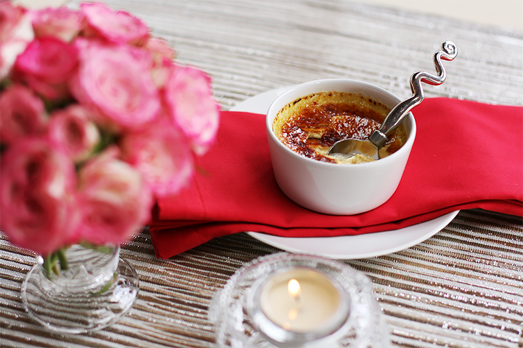 Pumpkin crème brûlée with fresh ginger and cinnamon