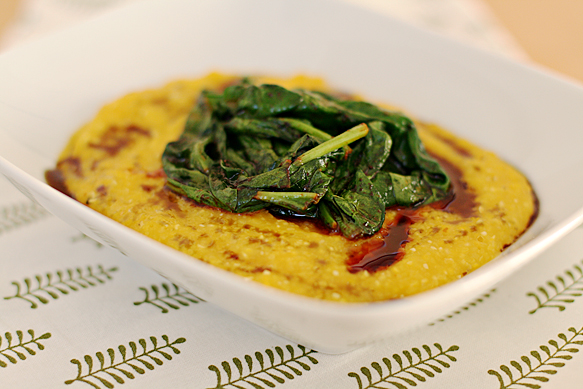 Butternut squash polenta with spicy wilted spinach