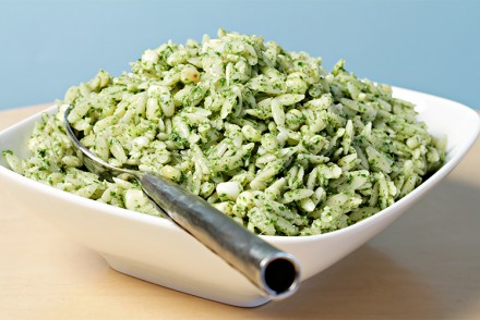 Orzo with mint-pesto and grilled corn