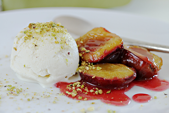 Roasted plums with cardamom gelato