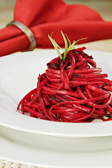 Linguini with roasted beets and caraway