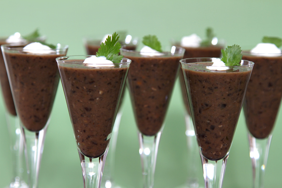 Black bean soup in shot glasses