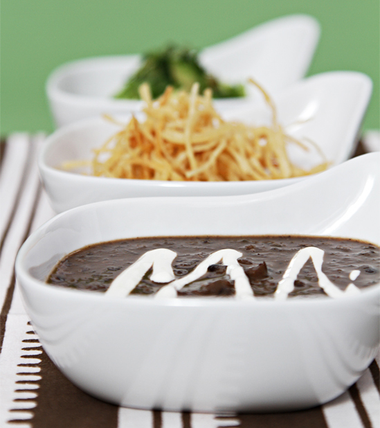 Black bean soup with pan-roasted poblano peppers and crispy shoestring ...