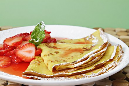 Crepes with strawberry compote