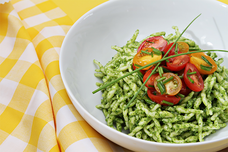 Spaghetti With Garlic Scape Pesto With Tomatoes Recipes — Dishmaps