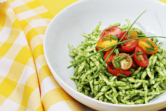 Food and Style - Trofie with arugula pesto and flash-sautéed cherry tomatoes with garlic scapes