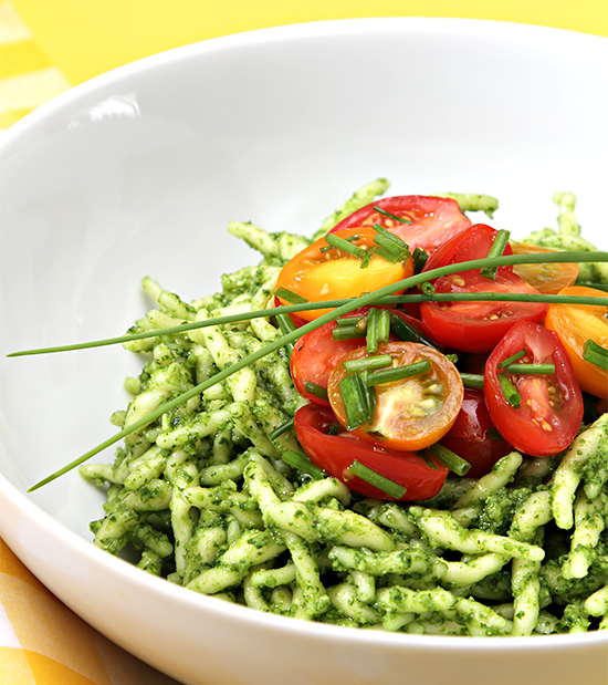 Pasta pesto cherry tomato recipe
