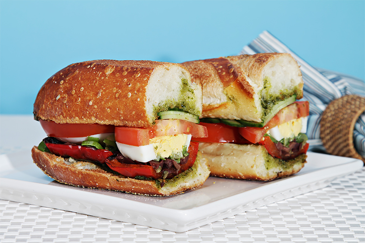 Pan bagnat with grilled peppers and basil vinaigrette The humble ...