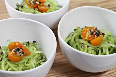 Cucumber linguini with fresh mint and fried capers
