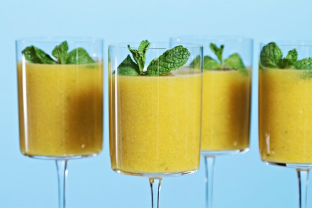 Yellow heirloom tomato gazpacho with lime oil and fresh mint