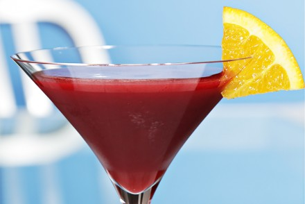 Blackberry Cosmopolitan with orange bitters