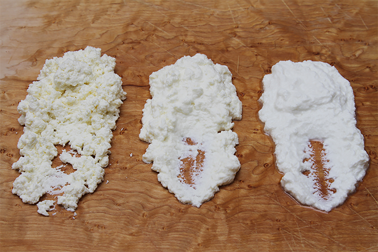 Homemade ricotta with 3 kinds of milk