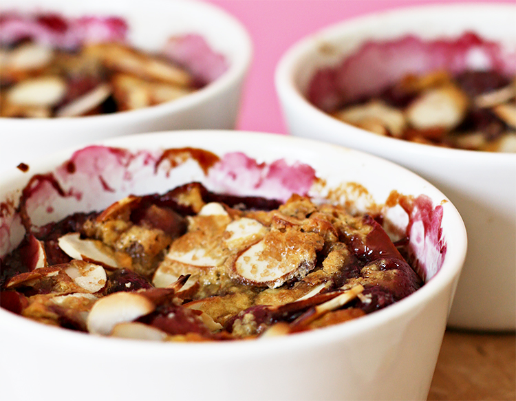 Cherry–almond clafoutis with cognac