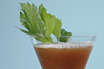 Fresh tomato Bloody Mary with garden herbs and celery bitters