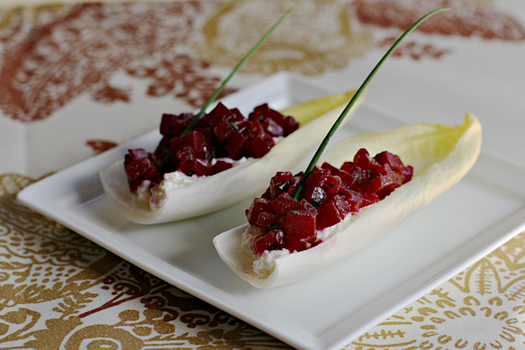 Endive boats with fresh ricotta and roasted beets