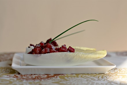 Endive boats with fresh ricotta and baked beets