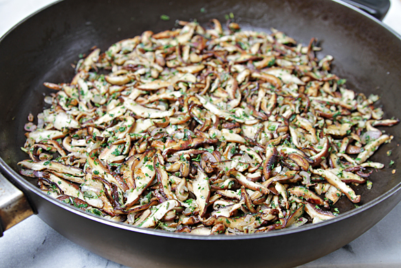 Sautéed shiitake mushrooms with fresh herbs