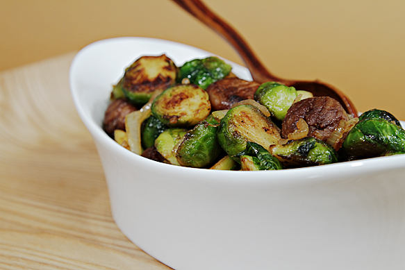 Maple-glazed Brussles sprouts with chestnuts
