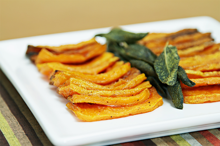 Roasted butternut squash with garlic and sage