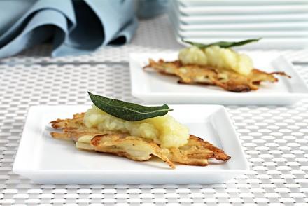 Potato latkes with apple confit and crispy sage