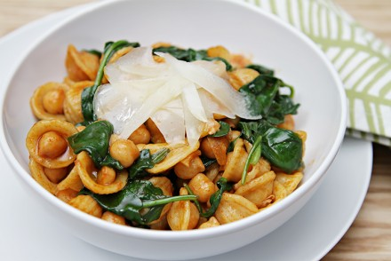 Orecchiette with Wilted Spinach-Chickpeas and Pimenton