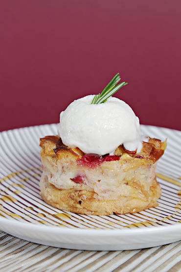 Apple-Cranberry Bread Pudding with Apple Cider-Calvados Reduction and Rosemary Gelato