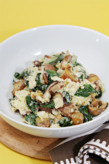 Winter scramble with shiitake, fingerling potatoes and chard