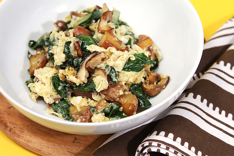 Scrambled eggs with shiitake, Swiss chard and fingerling potatoes