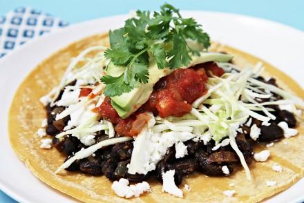 Spicy black bean tacos
