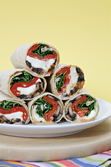 Portobello Mushroom Wrap with Buffalo Mozzarella and Piquillo Peppers