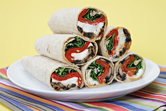 Portobello mushroom wraps with buffalo mozzarella and piquillo peppers