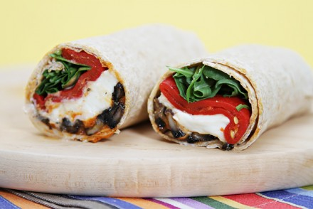 Portobello mushroom wraps with buffalo mozzarella, piquillo peppers and Pimentón mayonnaise