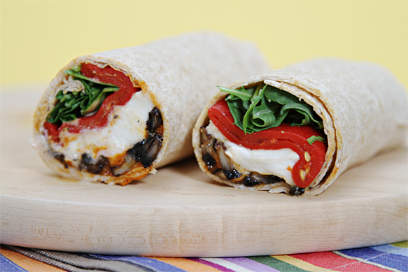 Portobello Mushroom Wrap with Buffalo Mozzarella, Piquillo Peppers and pimenton mayonnaise