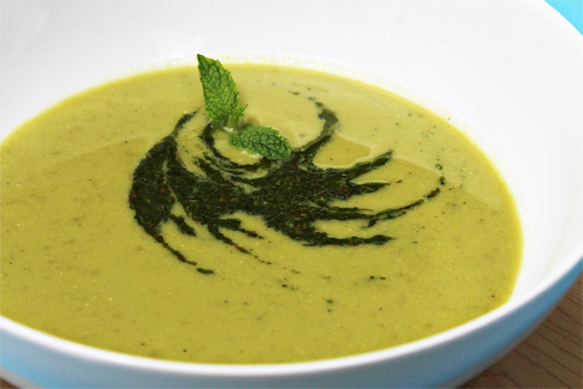Sweet Pea Soup with Cumin-Mint Coulis-cropped