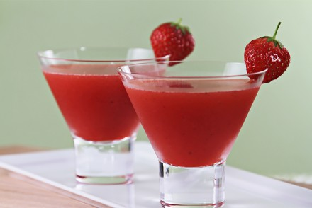 Strawberry Cosmopolitan with Ginger Liqueur and Rhubarb Bitters