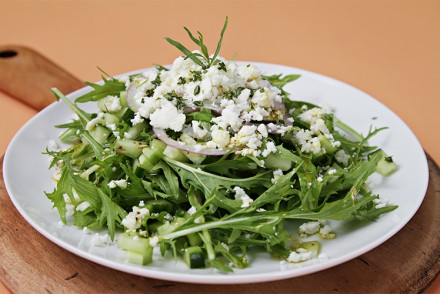 Mizuna and cucumber salad with feta and tarragon