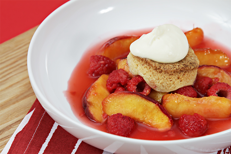 Peach-raspberry cobbler with Cointreau Chantilly