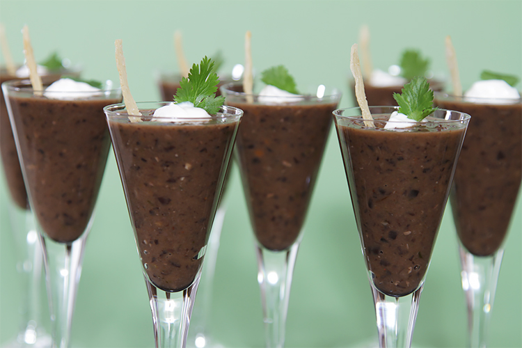 Black bean soup shots